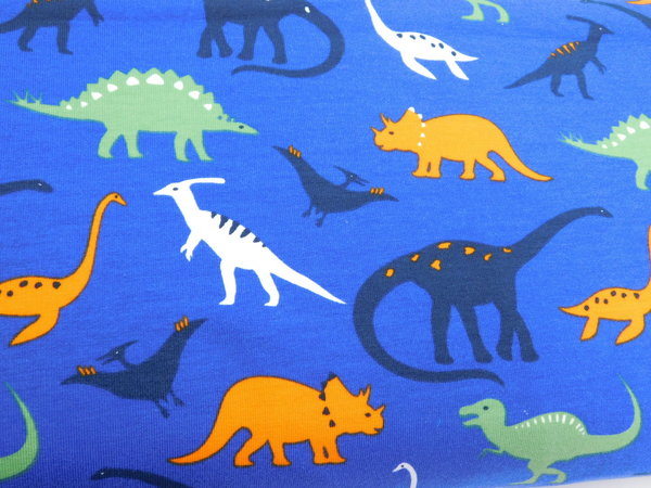 French Terry Sommersweat Kinderstoff Dinosaurier bunt / blau - annettes-shop