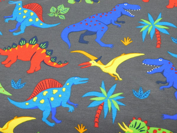 French Terry Sommersweat Kinderstoff Dinosaurier bunt / grau - annettes-shop